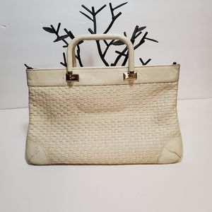 Vintage Off White Woven Design Slender Purse (leat